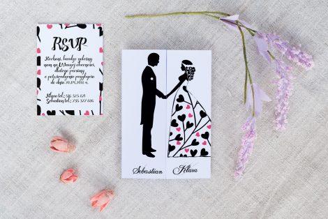 Tanie zaproszenie ślubne czarno białe