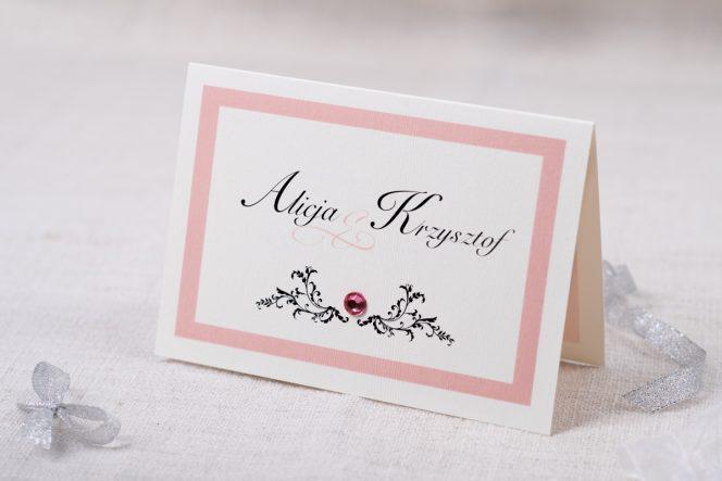 Eleganckie Zaproszenia ślubne Z Brylancikiem Różowe
