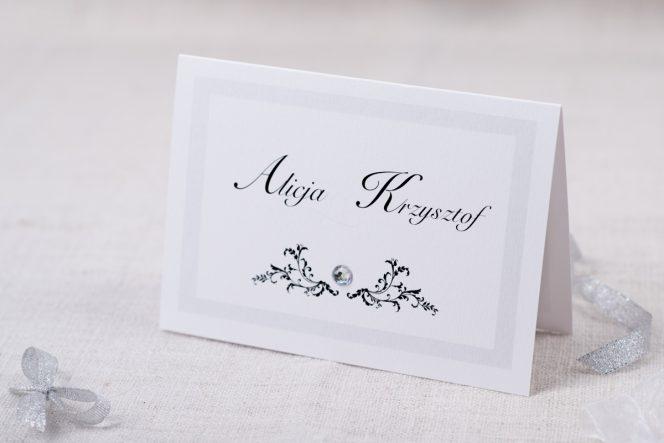 W superbly Eleganckie zaproszenia ślubne z brylancikiem Szare VL36