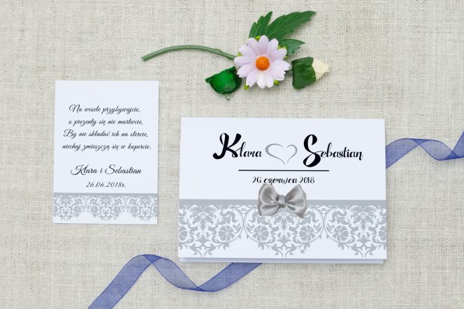 zaproszenie-slubne-ornament-kokardka-srebro