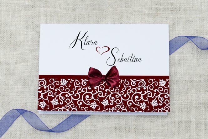 Zaproszenie ślubne Ornament z kokardką Burgund
