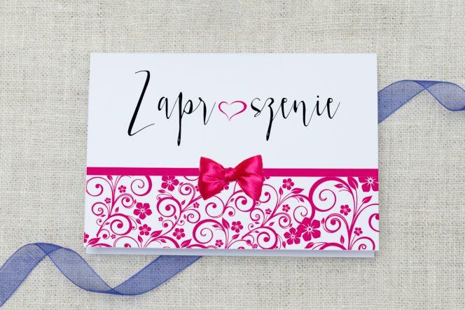 Eleganckie zaproszenie ślubne Ornament z kokardką Malina