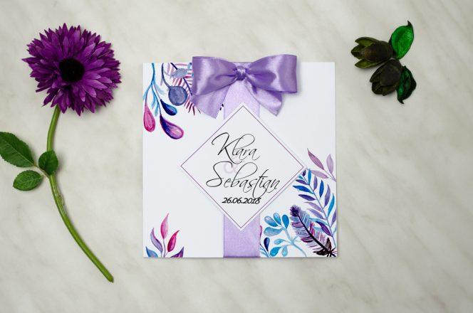 zaproszenie ślubne fioletowe z kokardą