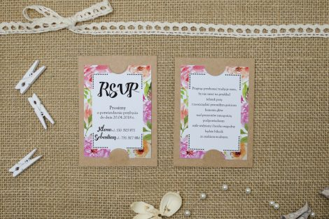 wkładka do zaproszenia boho floral różowe na podkładce co
