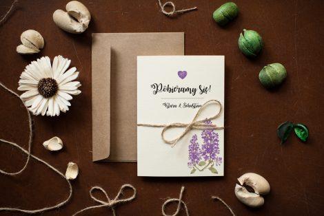 zaproszenie ślubne rustykalne bzy
