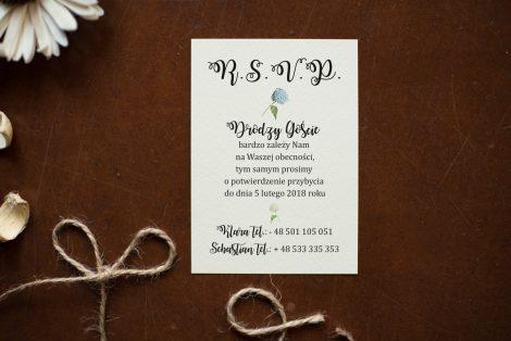 dodatkowa karteczka do zaproszen kwiaty ortensje