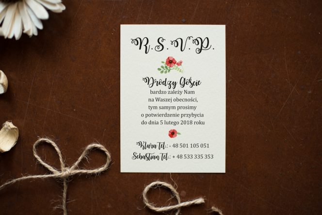 dodatkowa karteczka do zaproszenia z makiem