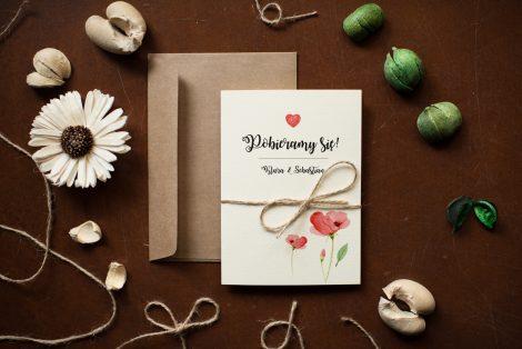 zaproszenie-rustykalne-kwiaty-maki