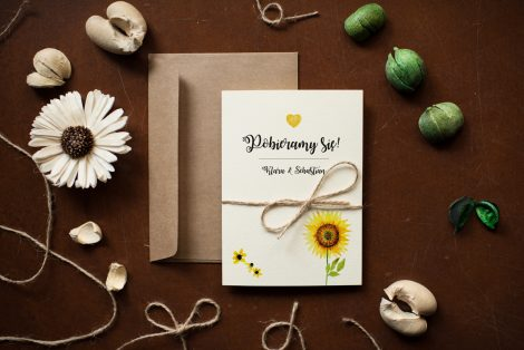 zaproszenie ślubne rustykalne słoneczniki