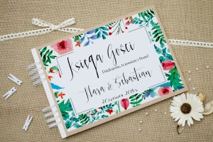 księga gości ślubnych boho floral zielone