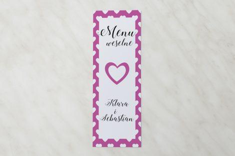 menu serduszka różowe