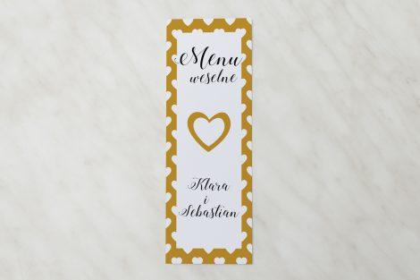 menu ślubne żółte serduszka