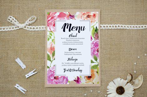 menu weselne boho floral różowe
