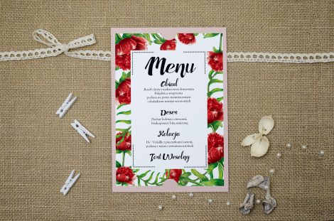 menu weselne boho floral
