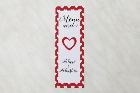 menu w czerwone serduszka