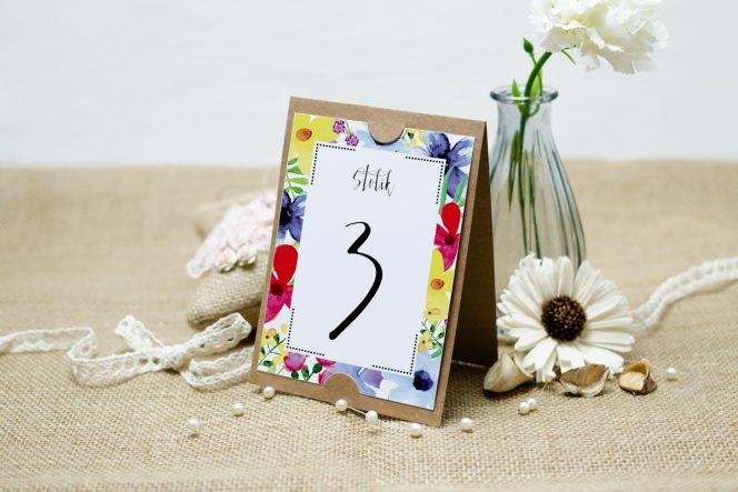 numer stolika boho floral kolorowe