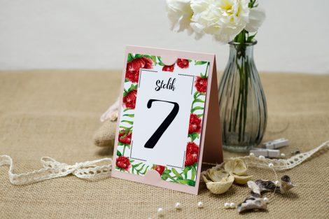 numer stolika czerwone boho floral