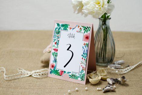 boho floral zielone z różową podkładką
