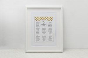 tablica plan stołow weselnych żółte serduszka