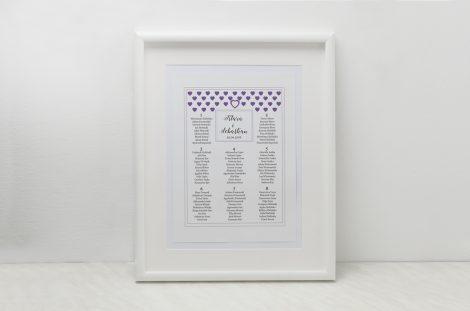 plan stołów fioletowe serduszka