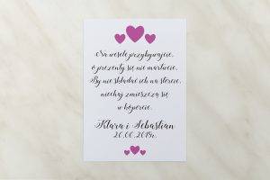 wkładka ślubna różowe serduszka