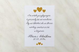 wkładka do zaproszenia ślubnego żółte serduszka