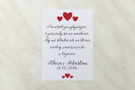 wkładka do zaproszenia ślubnego czerwone serduszka