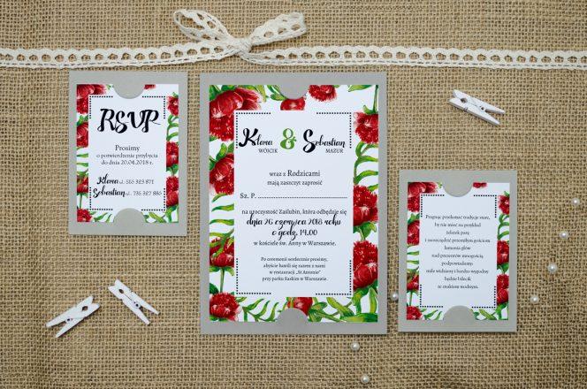 zaproszenie-slubne-szare-boho-floral-czerwone