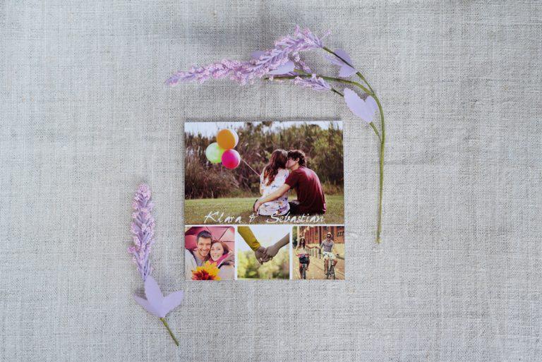 kolaż ze zdjęciami na zaproszeniu ślubnym