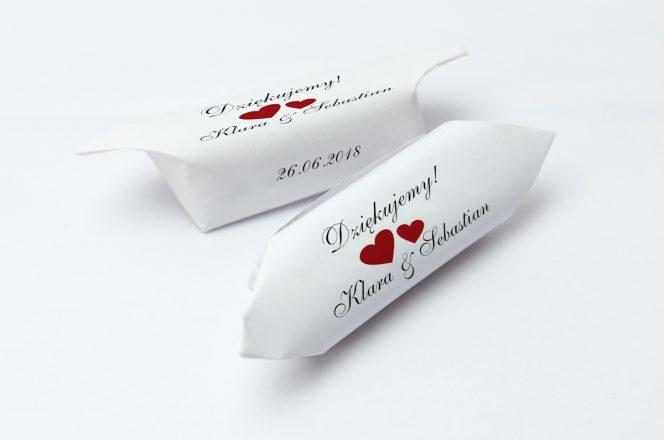 krówki weselne serduszka czerwone