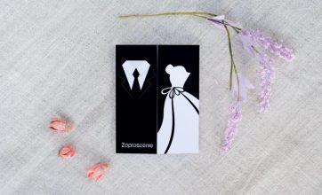ślubne zaproszenie w kolorze czerni i bieli