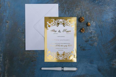 piękne zaproszenie złocone