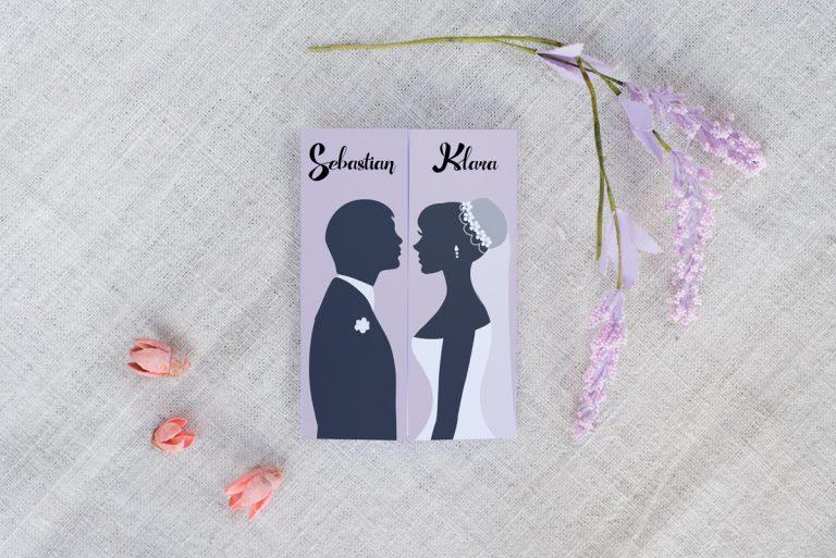 model czarno - białego zaproszenia na ślub