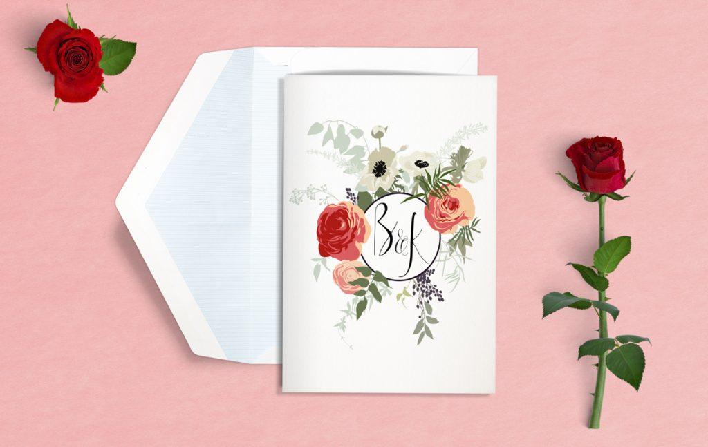 kwiatowe zaproszenie ślubne - zdjęcie