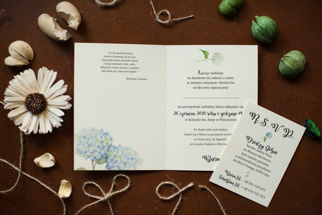 wnętrze wkładki do zaproszenia ślubnego