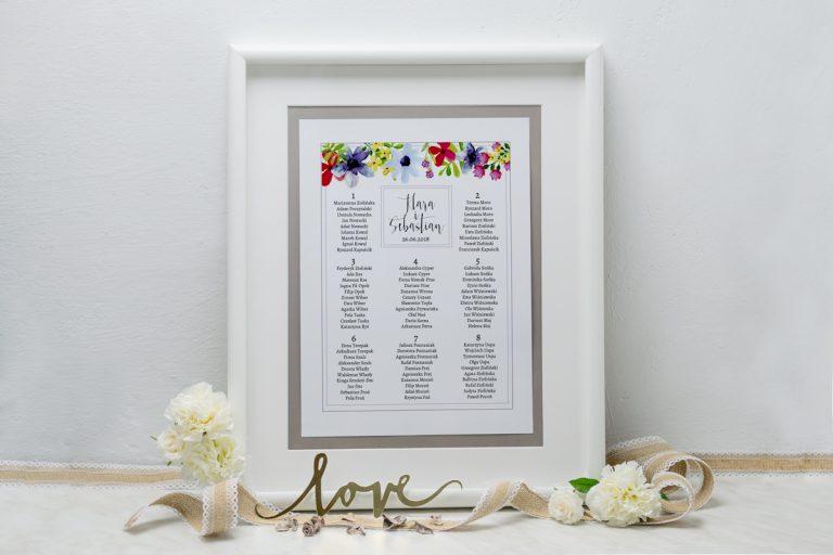 zdjęcie planu stołów gości weselnych w formie tablicy