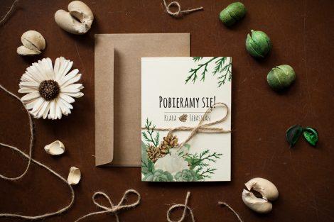 Zaproszenie zimowe - róże i sukulenty - Zaproszenie przód